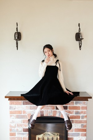 【市川美織】ベロアストラップドレス D1458