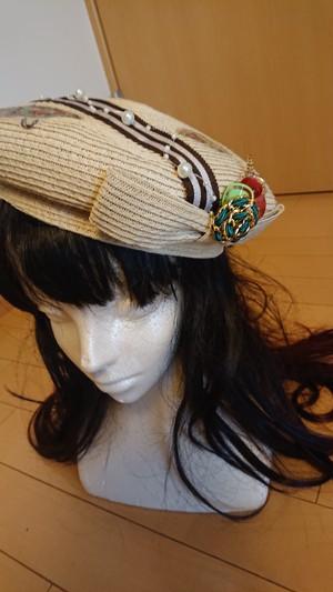 麦わらベレー帽