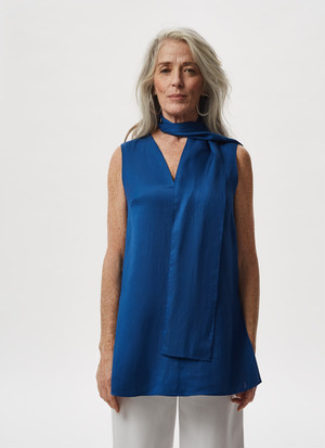 VISCOSE AND LINEN TOP WITH SCARF