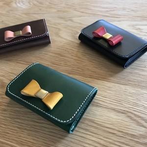 *イタリアンレザーブッテーロのリボン付き名刺ケース仕切りあり 2部屋タイプ カードケース 15色より選択可