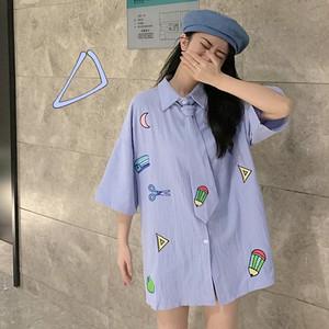 【トップス】カートゥーンシングルブレスト折襟学園風甘い印象シャツ