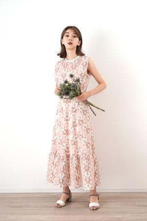 刺繍サイドレースアップ ミディドレス 【キャミドレス付】