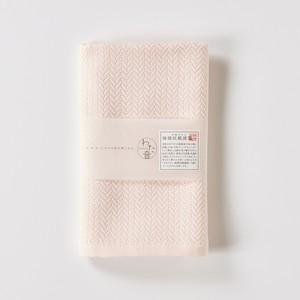 わた音カラー ヘリンボーン織り  フェイスタオル/桃色 1-65608-31-P