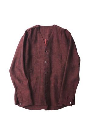 YANTOR Linenwool Nocollar Shirts (RED / size:M)