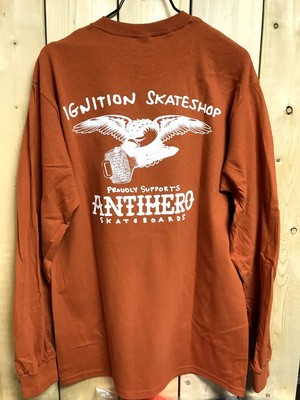 【クリックポスト200-対応】IGNITION SKATESHOP x ANTIHERO LS/TEE 1-8 SUPPORT orange M