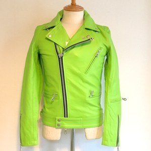 Cow-Leather Semi-Aniline finished Double Riders JKT Green