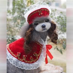 ★かわいい犬服ワンピ/ドレス  プリンセス帽子&ボレロ