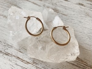 【14kgf】Gold hoops 34mm
