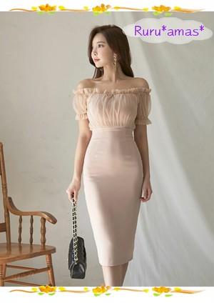 【お取り寄せ品】大人カラーのオフショルタイトドレス・ワンピース