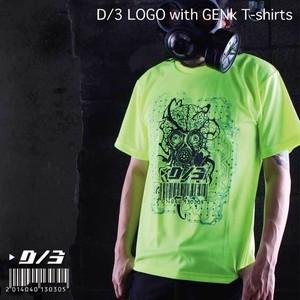 GENk×cheese ディースリー ロゴ Tシャツ (蛍光黄色) GENk×D/3  T-shirts  F.Yellow×BLACK(蛍光黄色×黒) d3