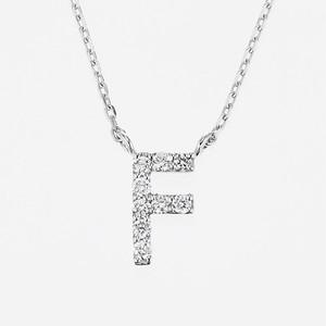 Initial K18WG Diamond【F】Pendant Necklace (ダイヤモンド イニシャル【F】ペンダントネックレス)