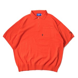 HALF ZIP KNIT POLO【ORANGE】