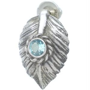 (11月)ブルートパーズ ブラック ネイディブ ハート フェザー  シルバー ピアス 誕生石*BE-1037