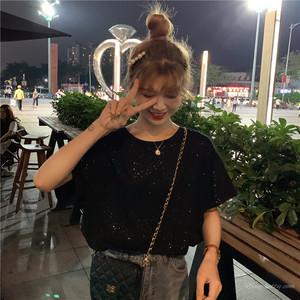 【トップス】ファッション春夏スウィート韓国風ラメ入りカジュアル無地半袖Tシャツ