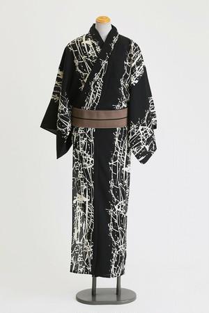 JUNKO KOSHINO浴衣 メンズ ポリエステル(セオα) 洗える 仕立上がり 隼№62 黒