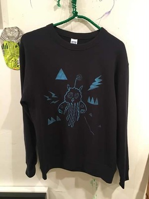 jelly fish Parrot sweat shirt Men's M navy blue