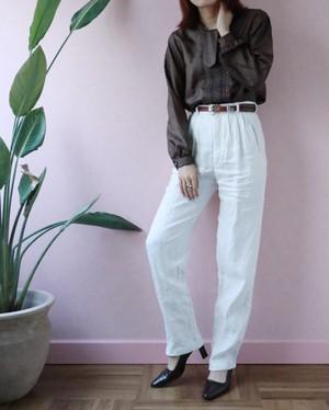 white linen high waist pants