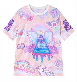 ゆめかわいい Tシャツ ドリーミー マカロン ピラミッド ペール やみかわいい ユニコーン ペガサス 目玉 トライアングル イベント ロリー 860410