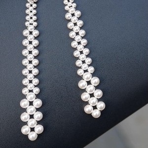 braid  pearl long earrings