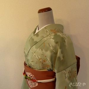 洗える着物 抹茶色に扇や季節の花の小紋 袷の着物