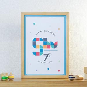 【誕生日パーティーに!】名入れバースデーA4ポスター <GOMMETTE BLUE A>