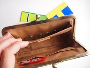 トライアングル ロングウォレット/がまぐち長財布 キャメル