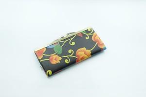 【秀和 x pink india】北欧デザイン 牛革がま口復刻長財布   matthew black&yellow