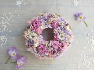 Petite Couronne<lilas pastel>*受注制作*幸せ舞い込むミニリース *プリザーブドフラワー*花*ギフト*結婚祝い*新築祝い