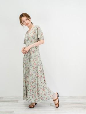 ◼︎90s pastel flower rayon maxi dress from U.S.A◼︎