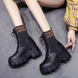 【シューズ】ファッション丸トゥ防水ショート丈ブーツ24354073