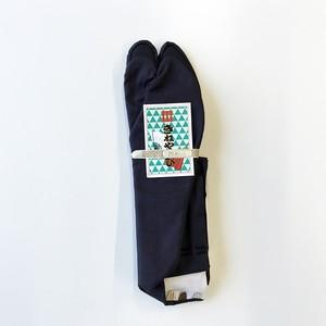 21.5cm~紺木綿黒底5枚コハゼ晒裏