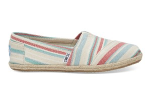 TOMS WOMEN'S / PALE PINK WOVEN STRIPE ROPE SOLE CLASSICS