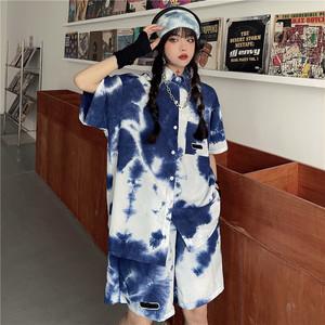 【セット】ストリート系半袖シングルブレストPOLOネックシャツ+ショートパンツ45265564