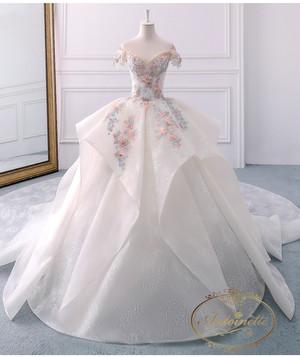 ladies wedding dress white long A-line happy ceremony 海外 花柄 ウエディングドレス ピンクホワイト かわいい Aライン