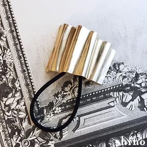 布を寄せたような真鍮製ヘアゴム【hair tie-gather(S)-】