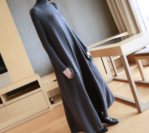 A1256. シンプル ソリッドカラー 冬 長いセーター ボトムスカート ワンピース Iライン ダークグレー