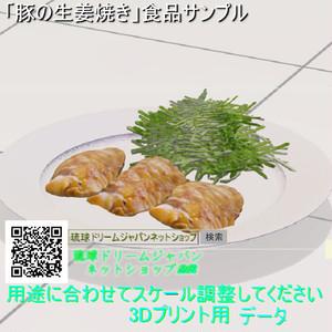 食品サンプル「豚の生姜焼き」」3Dプリント用データ