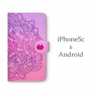 Android用ネコタングル pink 手帳型マルチスマホケース