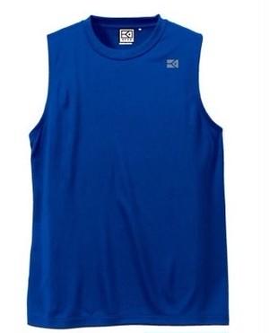 KYUSワンポイント ノースリーブドライメッシュシャツ (ブルー)