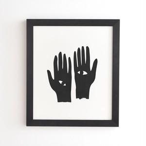 フレーム入りアートプリント HANDS EYE BLACK  BY MAMBO ART STUDIO【受注生産品: 8月下旬入荷分 オーダー受付中】