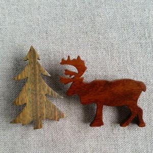 木製クリスマスペアブローチ