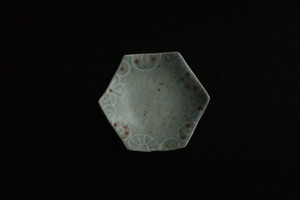 綿摘み陶房 六角皿(オレンジ)