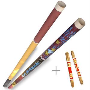 ペーパーディジュリドゥ + 竹製拍子木 = ビギナーズセット