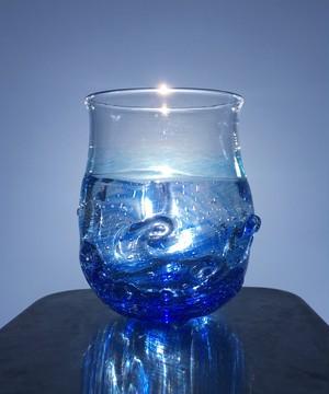 さざなみぐらす〜海と空の間〜麻炭ガラス(ヒマラヤ原種麻炭)
