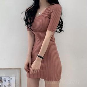 【ワンピース】韓国系半袖VネックAラインワンピース46627325