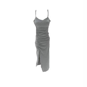 チェーンストラップサイドシャーリングワンピース(Grey,Black) 90