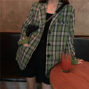 【アウター】秋新作レトログリーンチェック柄シングルブレスト薄型長袖コート22806238
