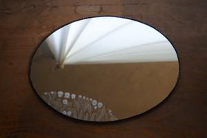 ウォールミラー大・楕円 花  / 雪ガラス