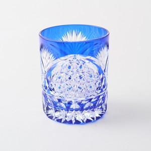 江戸切子の販売店 送料無料 無料包装 結婚祝 記念品 退職祝 古希祝 還暦祝 海外土産 クリスタルロックグラス(瑠璃)