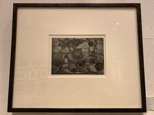 涌田利之「地中海の猫」木口木版画、雁皮紙/イメージ125×175mm 1999年